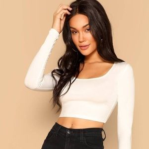Shein White long sleeve crop top NEVER WORN!! NEW